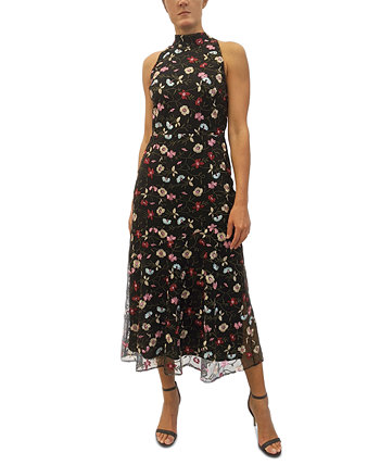 High-Neck Embroidered Maxi Dress Sam Edelman
