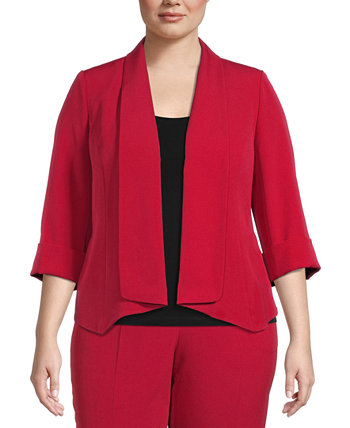Plus Size Crepe Open-Front Jacket Kasper
