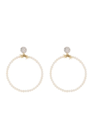 Crystal & Faux Pearl Knot Hoop Earrings Lele Sadoughi