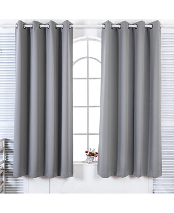 "63"" Lamia Premium Solid Insulated Thermal Blackout Grommet Window Panels, Fossil Grey Elegant Home Fashions"