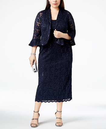 Plus Size Lace Dress & Ruffled Jacket R & M Richards