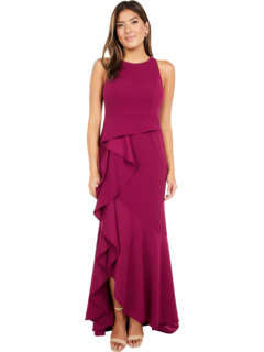 Sleeveless Long Knit Crepe Gown with Cascade Skirt Detail Adrianna Papell