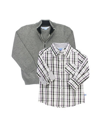 Baby Boys Long Sleeve Button Down Shirt and Sweater Set RuggedButts