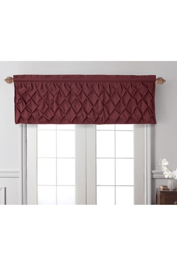 Кармен Solid Pintuck Curtain Valance - Бордовый VCNY HOME