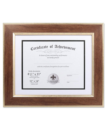 """Dual Use Walnut 11"""" x 14"""" Certificate Picture Frame with Double Bevel Cut Matting For Document - 8.5"""" x 11"""" Lawrence Frames"""