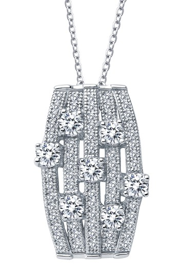 Platinum Plated Sterling Silver Simulated Diamond Pendant Necklace LaFonn