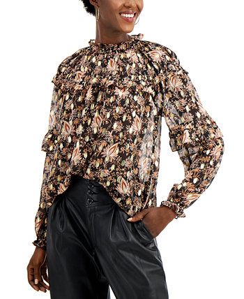 I.N.C. Petite Floral-Print Ruffled Blouse INC International Concepts