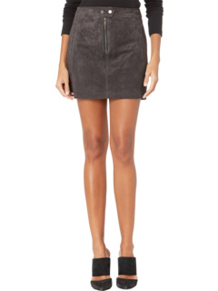 Real Suede Miniskirt with Zipper Front Detail Blank NYC