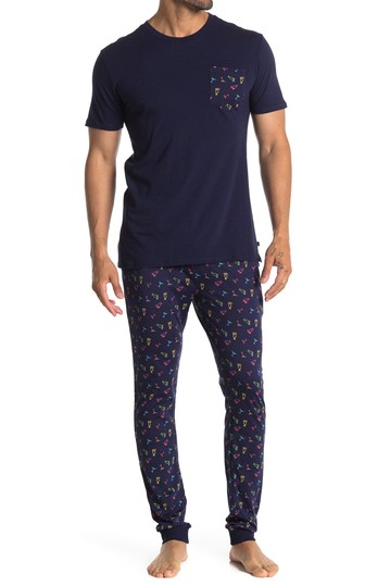 Short Sleeve Print Luxe T-Shirt & Joggers Pajama 2-Piece Set Hawke & Co.