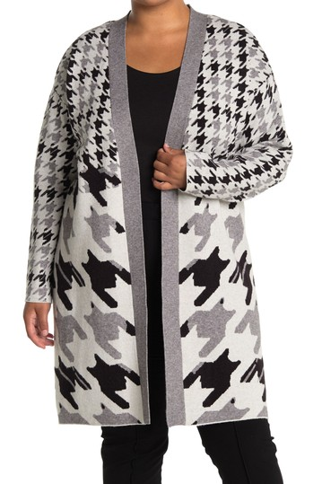 Maxi Open Front Houndstooth Cardigan (Plus Size) JOSEPH A