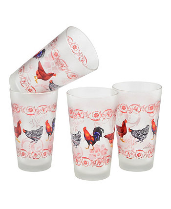 French Country Chicken Pint Glass 16-oz Set of 4 Culver