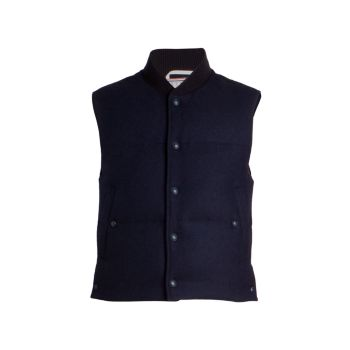 Down-Filled Wool Puffer Vest THOM BROWNE