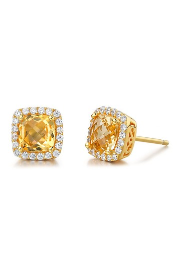 Gold Plated Sterling Silver Simulated Diamond Stud Earrings LaFonn
