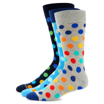 3-Pack Multicolored Polka Dot Crew Socks Unsimply Stitched