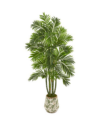 6' Areca Palm Artificial Tree in Vintage Green Floral Planter NEARLY NATURAL