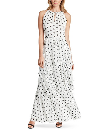 Dot-Printed Tiered Chiffon Gown Tahari by ASL