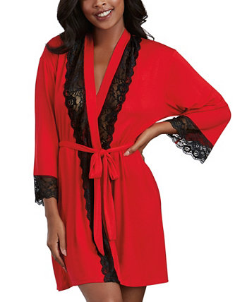 Soft Spandex Jersey Robe With Lace Inserts Dreamgirl