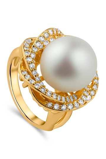 Vintage Pearl Pave CZ Ring CZ By Kenneth Jay Lane
