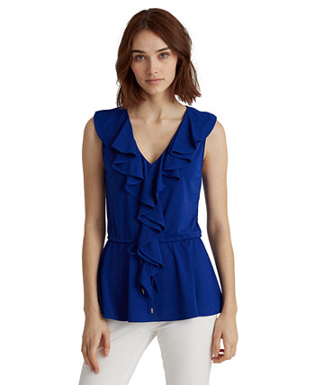 Ruffle-Trim Peplum Top Ralph Lauren