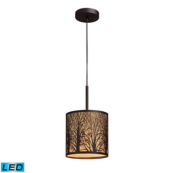 Woodland Sunrise 1-Light Pendant in Aged Bronze ELK Lighting