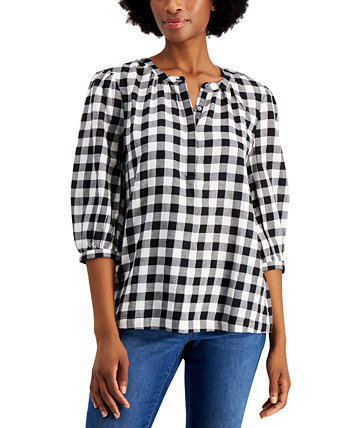 Metallic Plaid Popover Top, Created for Macy's Style & Co