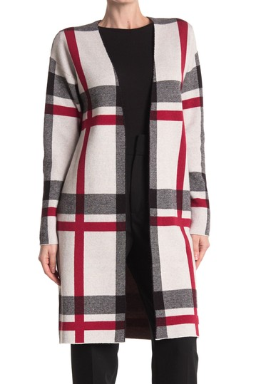 Maxi Open Front Plaid Cardigan JOSEPH A
