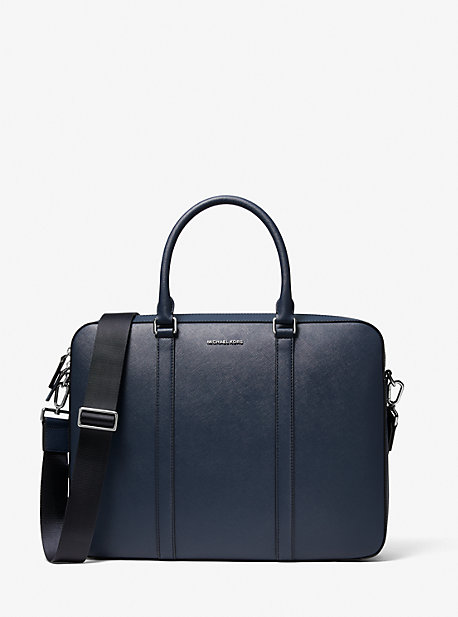 Harrison Crossgrain Leather Briefcase Michael Kors