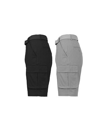 Men's Flat Front Belted Cotton Cargo Shorts, Pack of 2 Galaxy By Harvic