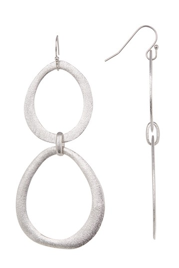 White Rhodium Clad Open Double Drop Earrings Rivka Friedman