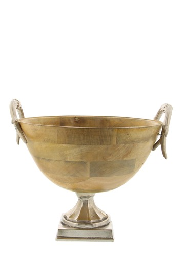 Traditional Wood & Aluminum Trophy Shaped Decorative Bowl Willow Row