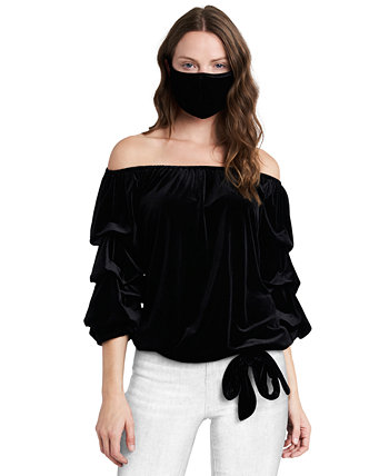 Velvet Off-The-Shoulder Top & Mask MSK