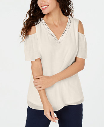 Petite Embellished Cold-Shoulder Top, Created for Macy's J&M Collection