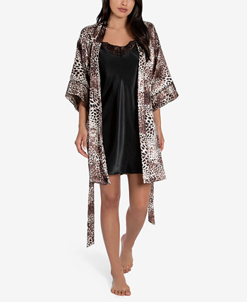 2-Pc. Charmeuse Printed Wrap Robe & Solid Chemise Nightgown Set Linea Donatella
