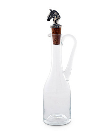 Hand-Blown 5 Oz Cruet Glass Bottle with Cork Stopper and Solid Pewter Horse Head Vagabond House