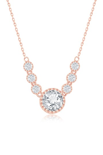 14K Rose Gold Plated Sterling Silver CZ Collar Necklace Simona Jewelry