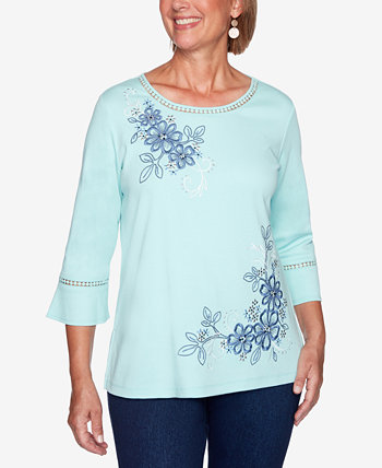 Petite Open-Trim Embroidered Top Alfred Dunner