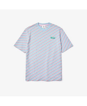Men's LIVE Loose Fit Short Sleeve Crew Neck Jersey T-shirt with Diagonal Logo Stripes Lacoste