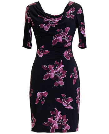 Petite Floral 3/4-Sleeve Sheath Dress Connected
