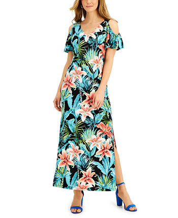Petite Printed Cold-Shoulder Maxi Dress Connected