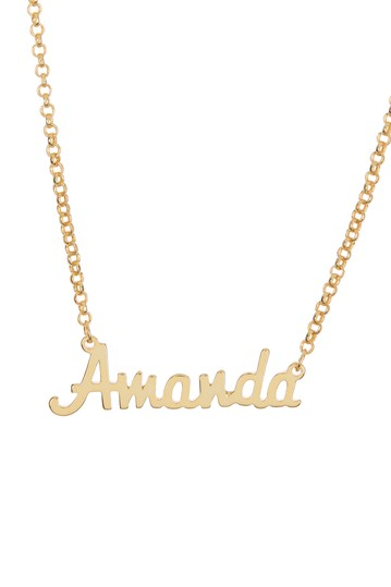 18K Yellow Gold Plated Sterling Silver 'Amanda' Name Pendant Necklace Argento Vivo