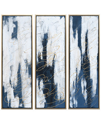 "Blue Shadows Textured Metallic Hand Painted Wall Art Set by Martin Edwards, 60"" x 20"" x 1.5"" Empire Art Direct"