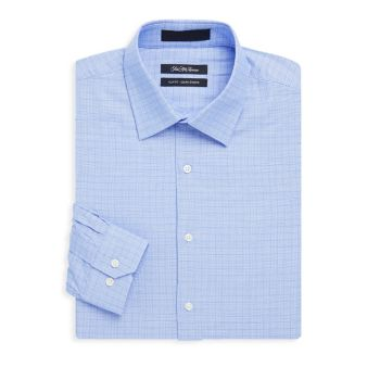 Cotton Slim-Fit Pincheck Shirt Saks Fifth Avenue