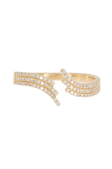 Willow 14K Yellow Gold Pave Diamond Bypass Ring - Size 7 EF Collection