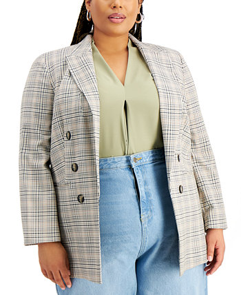 Trendy Plus Size Plaid Open-Front Blazer, Created for Macy's Bar III