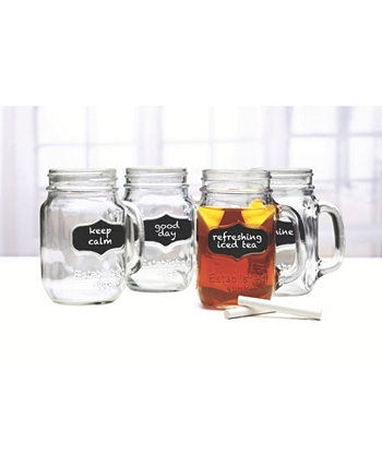 Mason Jar Mugs with Chalkboard, Set of 4 Circle Glass