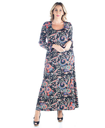 Women's Plus Size Paisley Print Maxi Dress 24seven Comfort Apparel