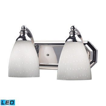 2 Light Vanity in Polished Chrome and Simply White Glass - LED, 800 Lumens (1600 Lumens Total) With ELK Lighting