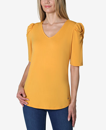 Elbow Puff Sleeve Solid V-Neck Knit Top Adrienne Vittadini