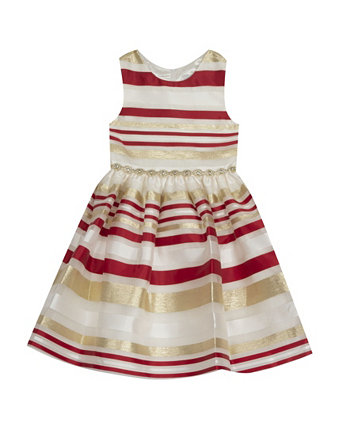 Big Girl Burnout Organza Stripe Fit And Flare Dress Rare Editions
