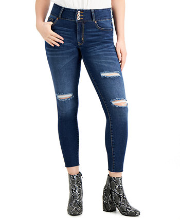Juniors' High-Rise 3-Button Raw-Hem Distressed Skinny Jeans Celebrity Pink
